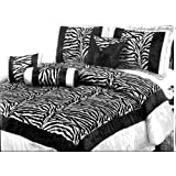 7 Piece Zebra Queen Size Comforter Set - Black and White - Faux Silk with Flocking