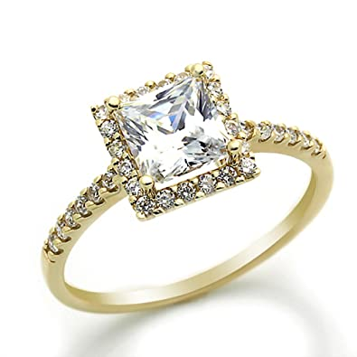 14k cz yellow gold wedding rings