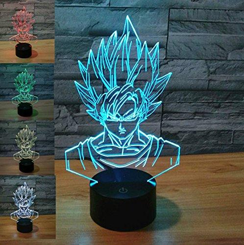 SUPERNIUDB 3D Dragon Ball Z Super Saiyan God Goku Action Figures Night Light Night Light Acrylic 3D LED USB 7 Color Change LED Table Lamp Xmas Toy Gift