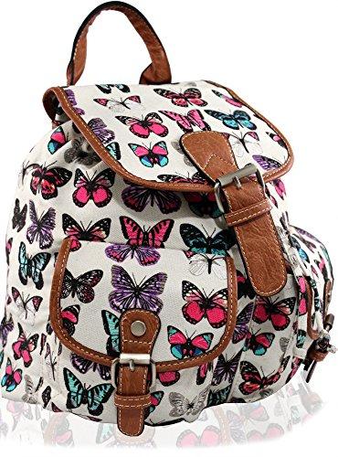 KUKUBIRD-Schmetterling-Rucksack-Rucksack-Schultasche-Doppeltasche-beige