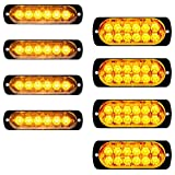 8pcs (4x6-LED+4x12-LED) Amber Ultra Thin Super Bright Emergency Warning Hazard Construction Flash Strobe Lights (Color: Amber, Tamaño: 47
