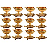 Odishabazaar Set Of 12 Handmade Indian Puja Brass Oil Lamp - Diya Lamp Engraved Design Dia With Turtle Base 3...