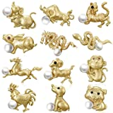 Lilbetter-Club Animal Brooch Pin Set - 12 Pcs The Chinese Zodiac Pearl Matte Gold Cute Animal Brooch (Color: Gold)