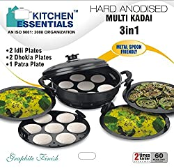 Kitchen Essential Hard Anodised Multi Kadai Steamer with HA Lid &5plate Gift Set