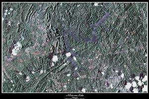 "Laminated Allatoona Lake, Georgia satellite map poster print photor: 36""x24"" glossy"