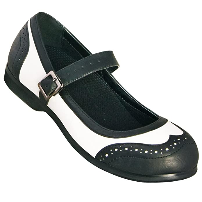 Aris Allen Black and White Wingtip Athletic Mary Jane Swing Dance Shoe $49.95 AT vintagedancer.com