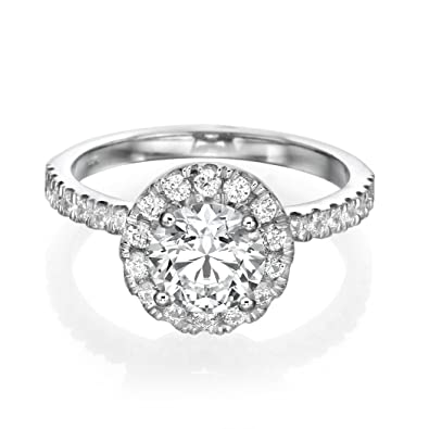 1 CT Halo Diamond Engagement Ring Round Cut Main Stone with Accents H-I/I1-I2 14ct White Gold