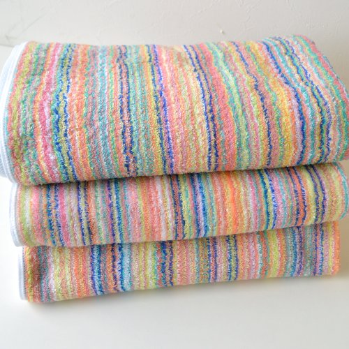 Three Sets Imabari ECO Stripe Bath Towel Deals (Remaining Yarn Bath Towel)