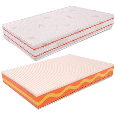 Ebbe Einzelbett Und Matratze 120x 200Wellenprofil Memory Foam hoch 25cm densitö Standard Aloe Vera miasuite