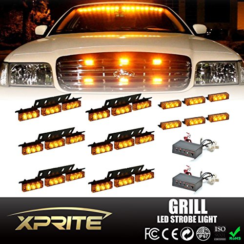 Xprite 54 LED & 18 LED Emergency Vehicle Strobe Warning Lights/Lightbars For Deck Dash Grill Windshield Headliner (Yellow/Amber) (Headliner Lights compare prices)