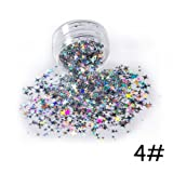 Oceaneshop 3D Colored Manicure Decor Four Angle Star Nail Art Glitter Thin Paillette Flakes Laser Sequins (Tamaño: 4)
