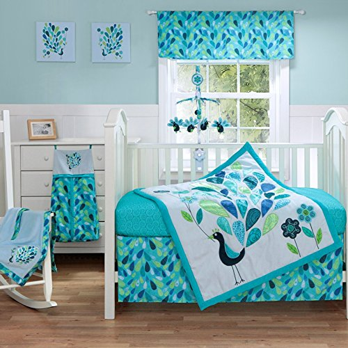 BananaFish 3 Piece Crib Set - Peacock Blue - 1