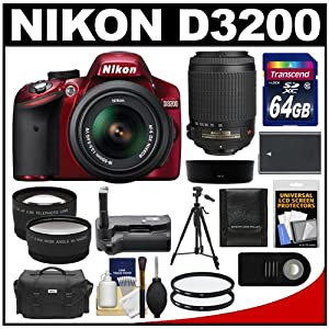 Nikon D3200 Digital SLR Camera & 18-55mm G VR DX AF-S Zoom Lens (Red) with 55-200mm VR Lens + 64GB Card + Case + Battery + Grip + Tripod + Lens Set + Filters Kit