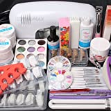 ReNext 25 in 1 Combo Set Professional DIY UV Gel Nail Art Kit 9W Lamp Dryer Brush Buffer Tool Nail Tips Glue Acrylic Set #30 (Tamaño: B)