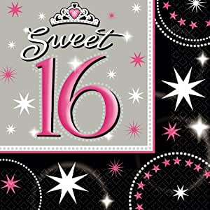 Amscan International Sweet 16 Party Napkins, Pack of 16