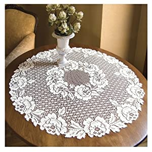 Heritage Lace Cottage Rose 30 Inch Round Table Topper White Doilies For Furniture