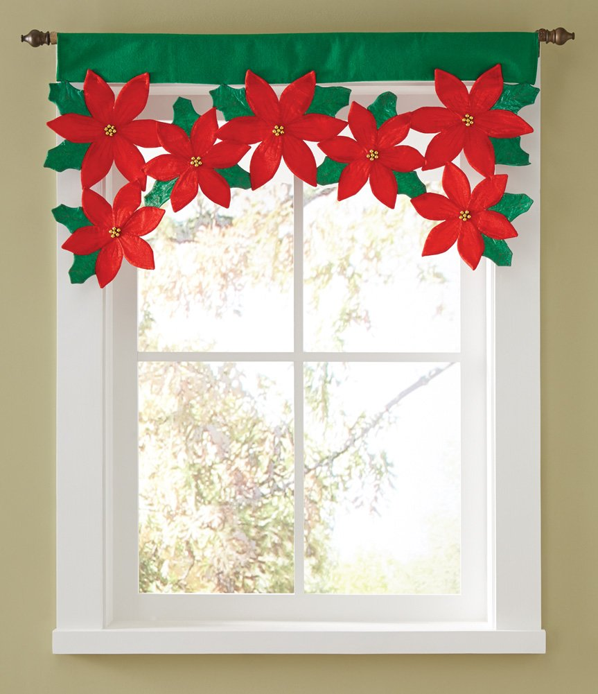 Christmas valances - Christmas Poinsettia Floral Window Valance Make Your Windows Bloom With Holiday Style Vibrant Window Valance Trims A Window With Pretty Cutwork Poinsettias