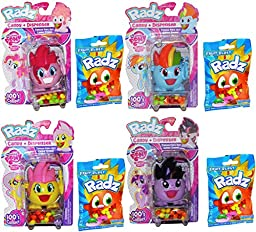 Radz My Little Pony Candy and Dispenser Pack of 4 with 4 Candy Refills