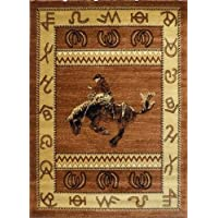 Western Area Rug Design 370 Lodge Brown