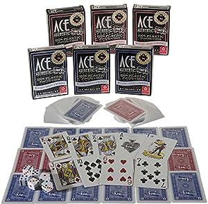 Ace 100% Plastic Playing Cards _ Bundle of 6 Decks _ Plus 6 Bonus Dice