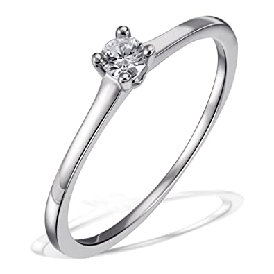 Goldmaid Woman's Ring 925 Sterling Silver - Wedding Ring - Friendship Ring one Diamond