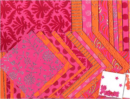 Shizen Handmade Paper Assortment- Magenta/Orange/Pink