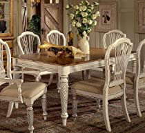 Hot Sale Wilshire Collection Wood Dining Table w Antique White Finish & Leaves