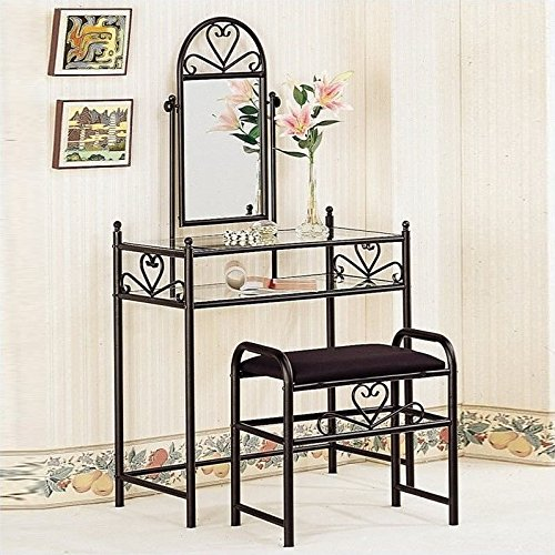 Coaster Vanity Table Set in Black (Iron Vanity Set compare prices)