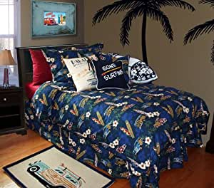 Surf Bedding By Dean Miller -- Tradewind Trolly King Kahuna Size Duvet Cover w/ Two (2) King Shams