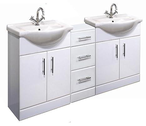 1600mm High Gloss White Bathroom Furniture Set - 2 x Vanity Basin Cabinet Units & Cupboard Drawer