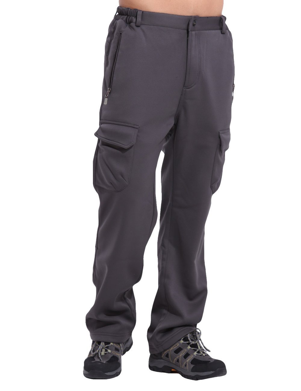 Clothin Men's Thicken Waterproof Fleece Lined Warm Ski Soft Shell Pants new winter fleece lined unisex hiking pants men windbreaker waterproof hunting climbing softshell pants ladies slim fit trousers