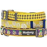 Blueberry Pet 5/8-Inch Gold Cross Print Basic Polyester Nylon Dog Collar, Small