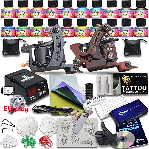 Professional Great tattoo Starter Tattoo Kit 4 Machines 20 Color TOP USA Inks Top CE Power Supply D238EUYMX