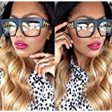 Celebrity Inspired Black Matte Clear Lens Gold Chain Link Sunglasses with High Quality Metal Arms