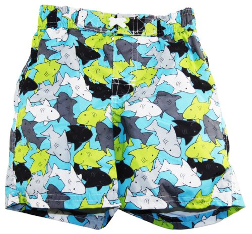 Ixtreme Little Boys Swimwear Shark Swim Trunk, Turquoise 4T front-725178