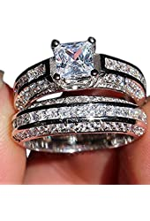 Weewoo 925 Jewelry Simulated Diamond Engagement Wedding Ring Set