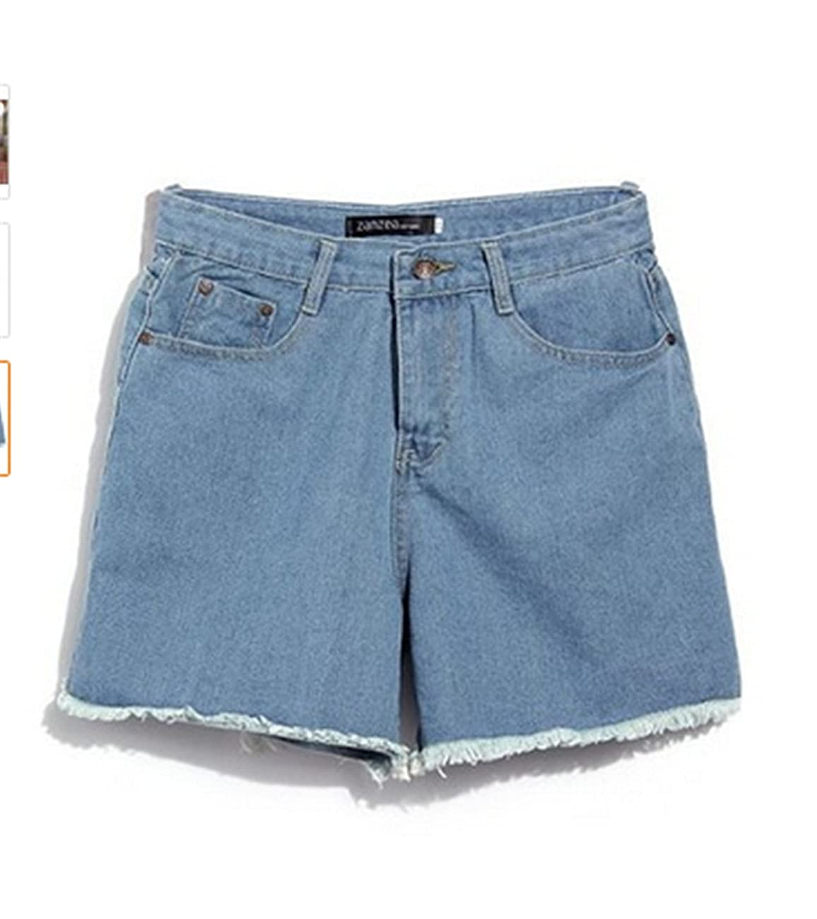 Lady Women Retro Girl High Waisted Oversize Crimping Boyfriend Jeans Shorts Pant 1