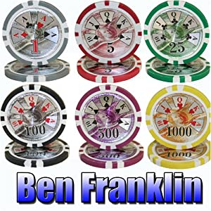 1000 Ben Franklin Acrylic Poker Chip Set w/ Free WPT Rule Book. 14 Gram Heavy Weighted Poker Chips.