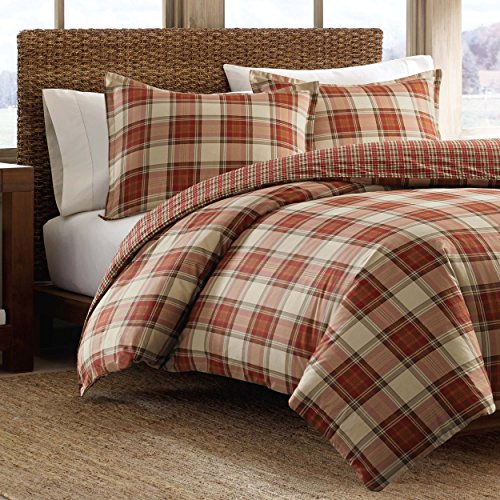Eddie Bauer Edgewood Plaid Duvet Cover Set, Twin, Red (Flannel Duvet Cover Twin compare prices)