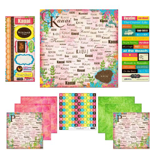 Scrapbook Customs Themed Paper and Stickers Scrapbook Kit, Kauai Paradise