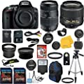 Nikon D5300 DSLR Camera Body with Nikon 18-55mm VR Standard Zoom Lens Celltime Exclusive Bundle with Tamron 70-300mm Di LD Macro Zoom Lens + High Definition U.V. Filter + Wide Angle and Telephoto Auxiliary Lenses + Deluxe Camera Case + 2pcs 16GB Class 10 Memory Cards + 16pc Accessory Kit