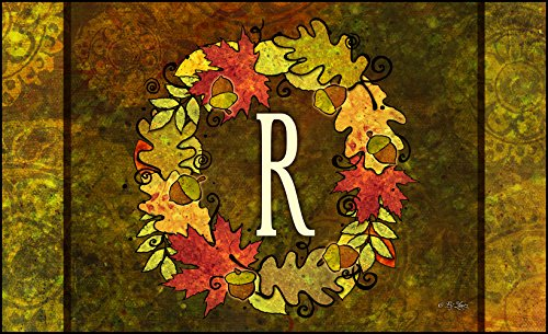 Toland Home Garden Fall Wreath Monogram R 18 x 30-Inch Decorative USA-Produced Standard Indoor-Outdoor Designer Mat 800137