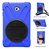 BAUBE Rugged Military Armor Heavy Duty Shockproof Hybrid Hard Rubber Case Cover with Stand & Hand Strap for Samsung Galaxy Tab A 10.1 inch SM-T580 T581 T585 T587(No S Pen), Navy + Shoulder Strap (Color: Blue w/ Shoulder Strap)