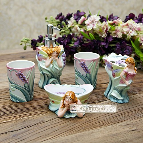 brandream luxury flower fairy bathroom accessories set ceramic bathroom sets 5pc