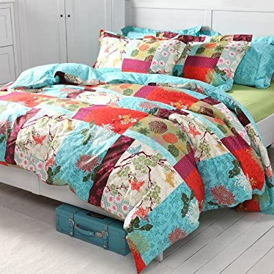 Sisbay Colorful Bedding,Rural Flower Duvet Cover,Vintage European Bed Set,Ethnic Exotic Queen King Size,4pcs