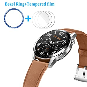 HATALKIN Compatible with Huawei Watch GT 2 46mm Screen Protector,3 Pack HD Tempered Glass Film with one Bezel Protective Ring Stainless Steel Smartwatch Adhesive Cover for Huawei Watch GT 2 46mm (Color: Blue)