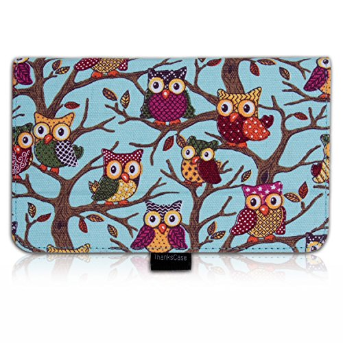 Thankscase Asus Memo Pad 7 Me176Cx Case Cover Built-In Elastic Hand Strap Slim Lightweight Smart Owls Canvas Case Smart Cover For Asus Memo Pad 7.(Sky Blue Owls)