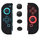 Joycon Cover Protector Joy Cons Grip Gel Guard Switch Joy Cons Controllers Silicone Skin Anti-Slip Joy-Con Skin Joycons Covers Joy Con Case Shell Pair with 4 Stick Decal Black –Jamont (Color: Black)