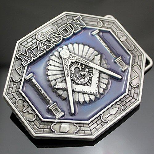 Western Vintage Silver Freemason Masonic Mason Lodge Symbols Compass Belt Buckle