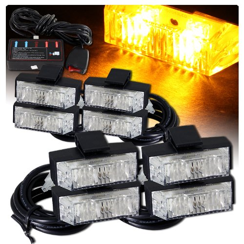 Low Profile Led Grille Clip On Mounting Emergency Strobe Lights - Amber